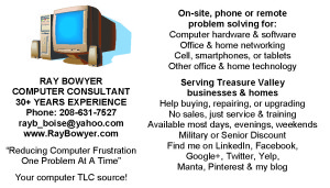 Business Card - Ray Bowyer, Computer Consultant